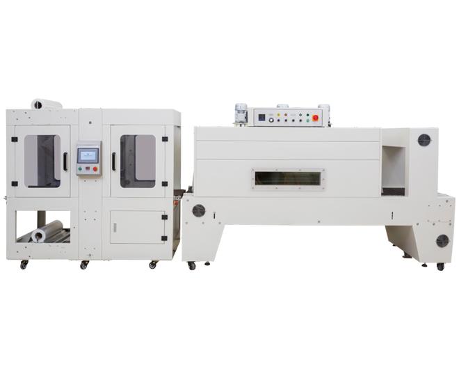 DQX6040S全自动袖口式输送带式套膜机+DSE-8060A喷气式pe膜热收缩包装机